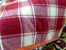 vintage wool blanket  burgundy and white with satin blanket trim