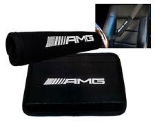 2x AMG Logo Embroidered Black Neoprene Seat Belt Safety Pad Cover Shoulder Strap