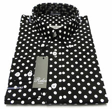 Relco Black White Polka Dot Cotton Long Sleeved Retro Mod Button Down Shirts