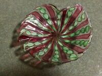 1960s Murano Art Glass Latticino Nut Candy Pin Dish