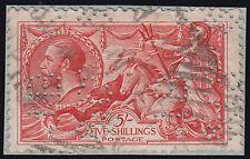 SG417 1918/ 19 5s. Rose red Bradbury Seahorse.