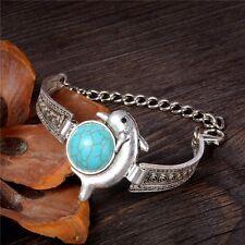 New Boho Tibetan Silver Turquoise Dolphin Pattern Bracelet Bangle Jewellery Gift