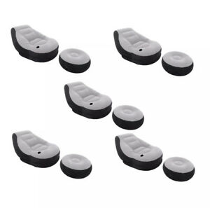 Intex Inflatable Ultra Lounge Chair With Cup Holder & Ottoman Set, Gray (5 Pack)