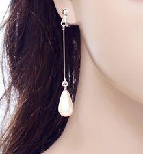 #E122Z PAIR NON-PIERCED CLIP ON Teardrop Faux Pearl Tassel Earrings 7cm Long NEW