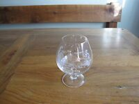 WHISKEY SNIFTER GLASS, ETCHED GROUSE AND FIELDS RARE