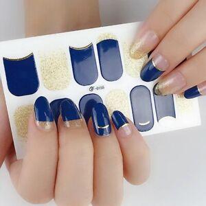 14 Beautiful Nail Art Sticker Tips Glitter Full Cover Tips Self Adhesive New
