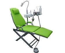 Dental Portable Foldable Chair with Mini Compressor and LED Light +Tray 4H Green