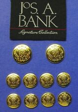 10 JOS. A. BANK Gold Tone solid metal jacket replacement buttons good used cond.