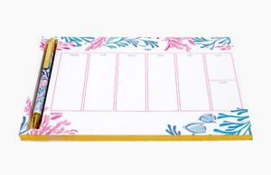 Lilly Pulitzer Weekly Planner Desk Pad and Pen Kaleidoscope Coral NWT