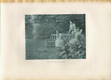 New listing ANTIQUE VICTORIAN GIRLS TENNIS SPORTS ATHLETES COURT FENCE WILD FLOWERS PRINT