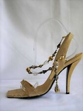 Roger Vivier Gold Print Madame V.100 Slingback Pumps Square Toe Jewels 38