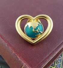 Heart of Asia, Earth Heart Pin /  Brooch by Avon, The World in a Heart
