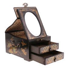 2 Drawer 1 Mirror Dresser Home Organizer Jewelry Necklace Box Ornament Black