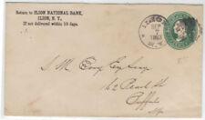 1883 Ilion NY fancy sunburst handstamp postal stationery entire Herkimer County