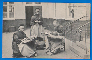 Flanders, Belgium, Bobbin lace maker women, old postcard