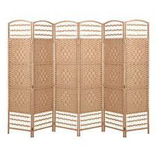 6 Panels Hand Made Solid Weave Wicker Room Divider Separator Fold Privacy Screen