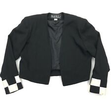 Nicole Miller Collection Cropped Blazer Jacket Check Board Black • Size 10