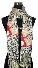 """Stunning 24""""x78"""" 2-Ply 100% Cashmere LEOPARD Scarf Shawl Wrap w/ BUTTERFLY, Gray"""