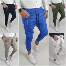 Pantalone Uomo Cotone Elastico Tasche Caviglia Molla Primaverile Catena slim fit