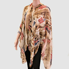 Brown and American Flag Open Poncho Top