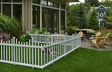 No-Dig White Fence Picket Garden Decor Yard Accent Outdoor Country Vinyl PVC