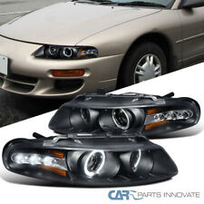 For 97-00 Avenger Chrysler Sebring Coupe Black LED DRL Halo Projector Headlights