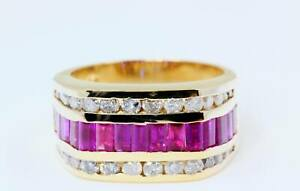 Diamond & Rubies in 11mm Thick Band Ring in 14K Yellow Gold