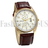 Men's Simple Casual Dress Wristwatch Leather Band Analog Quartz Date Watch Gift