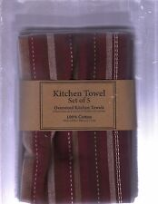 "BRAND NEW SET OF 5 WINE/CHOCOLATE/WHITE KITCHEN TOWELS (18""X28""/100% COTTON)"