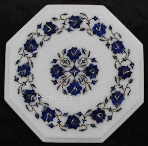 12 Inches Marble Sofa Side Table Top Lapis Lazuli Stone Inlay Work Coffee Table