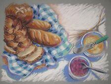 ORIGINAL Barbara Maslen BREADS Pastel ILLUSTRATION Painting - Listed Sag Harbor