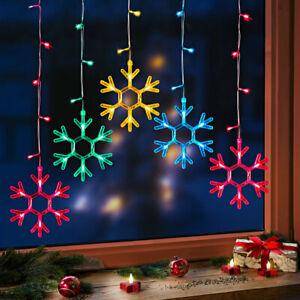 LED Lichtervorhang Lichterkette Eisregen Fensterdeko Sterne Weihnachten 50 LEDs