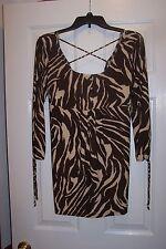 NWT No Boundaries Juniors Size L Brown/Tan Tiger Stripe Stretch Shirt