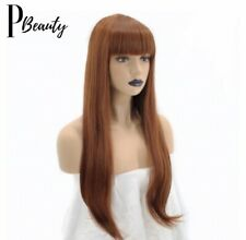 26 Inches Straight Ginger Orange Bangs Women's Cosplay Synthetic Fringe Hair Wig
