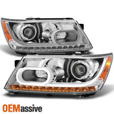 Fit 2009-2020 Dodge Journey DRL Light Tube LED Signal Projector Headlights Pair