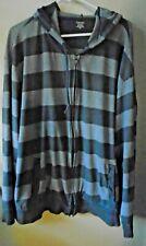 Men's St. John's Bay Gray Striped Sweatshirt Coat / Hoodie Long Sleeve Size 3XL