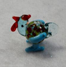 a Rooster Cock MINIATURE GLASS FIGURINE blown art mini tiny animal blue