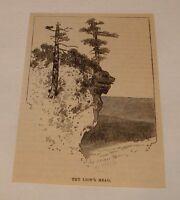 1887 magazine engraving ~ LION'S HEAD ROCK North Carolina