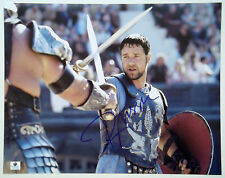 Russell Crowe Signed Large 11x14 Gladiator Crossed Swords Action Photo Ga Gai