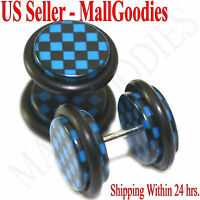 1269 Fake Cheater Illusion Faux Ear Plugs Blue Checkered Print Parttern 00G 10mm