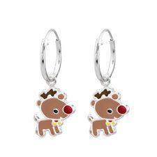 925 Sterling Silver Baby Rudolph Christmas Sleeper Hoop Earrings Kids Girls 12mm