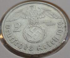 Germany 2 REICHSMARK SILVER MARK HINDENBURG SWASTIKA 1939 B Third Reich