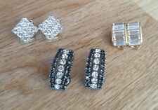 Three Pairs of Faux Diamond Look Sparkly Glamerous Earrings Clip on
