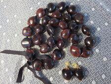 """Vintage Kukui Nut Lei Bead Necklace Earrings Hawaiian 37"""" Lg Wedding Graduation"""