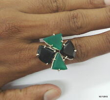 sterling silver ring green onyx & smoky gemstone ring cocktail ring india
