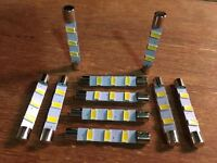 (10)WARM WHITE 41MM-LED FUSE LAMPS/ 6.3V/RECEIVERS 400,500C,600.800,800C/ Fisher