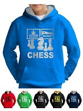 Kids EAT SLEEP CHESS SET Sweat à Capuche Sweat-Smartphone Compatable