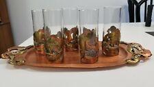 MIXED METAL MEXICAN BAR SET TRAY AND GLASSES