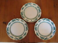 """3 VINTAGE BOOTH'S GREEN DRAGON GILDED DINNER PLATES  10 1/2 """""""