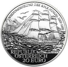 Austria 20 Euro 2004 Silver Proof Coin Austria On the high seas : S.M.S. Novara